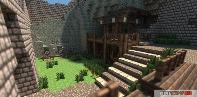 Cредневековый замок для майнкрафт