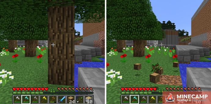 Lumberjack - мод на супер топор Minecraft 1.14.4 1.12.2 1.11.1